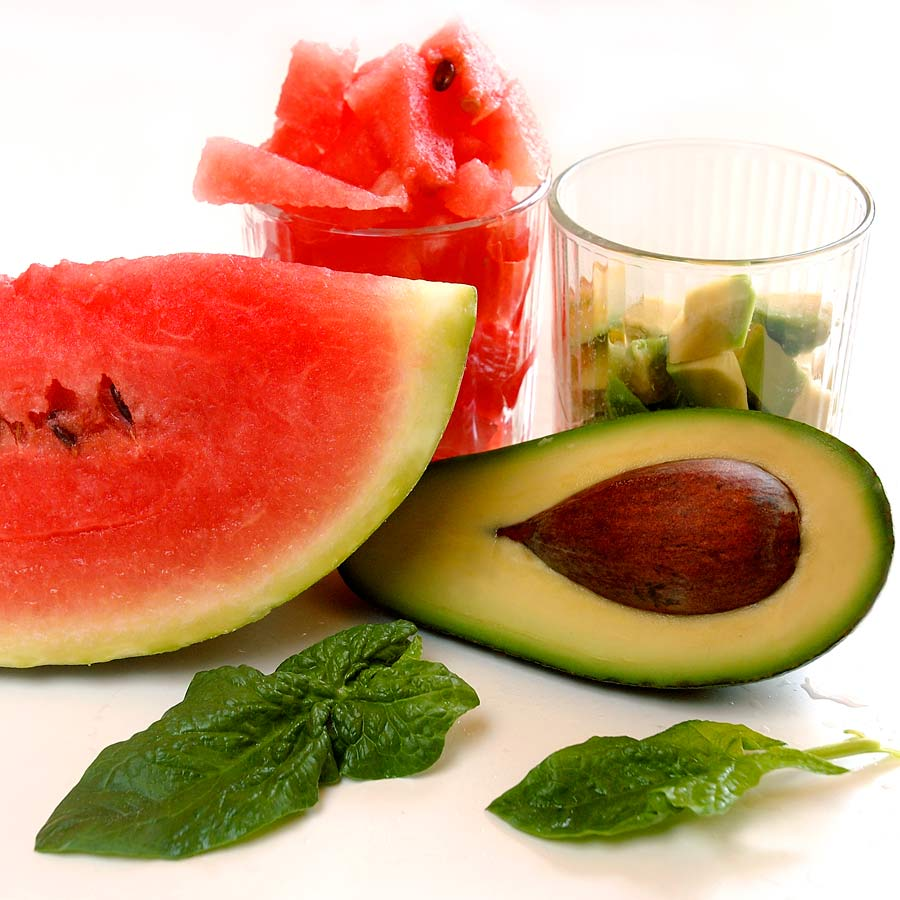 Spinat-Avocado-Salat-mit-Wassermelone