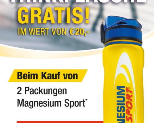 Magnesium Sport® Premium Trinkflasche GRATIS im Wert von €20,- beim Kauf von 2 Packungen Magnesium Sport®