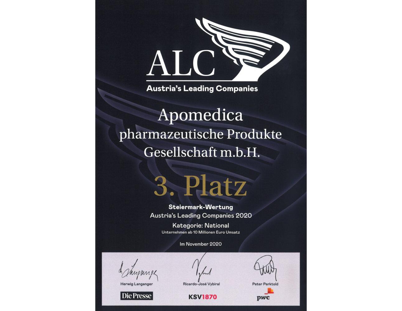 3. Platz für Apomedica bei den ALC Awards 2020