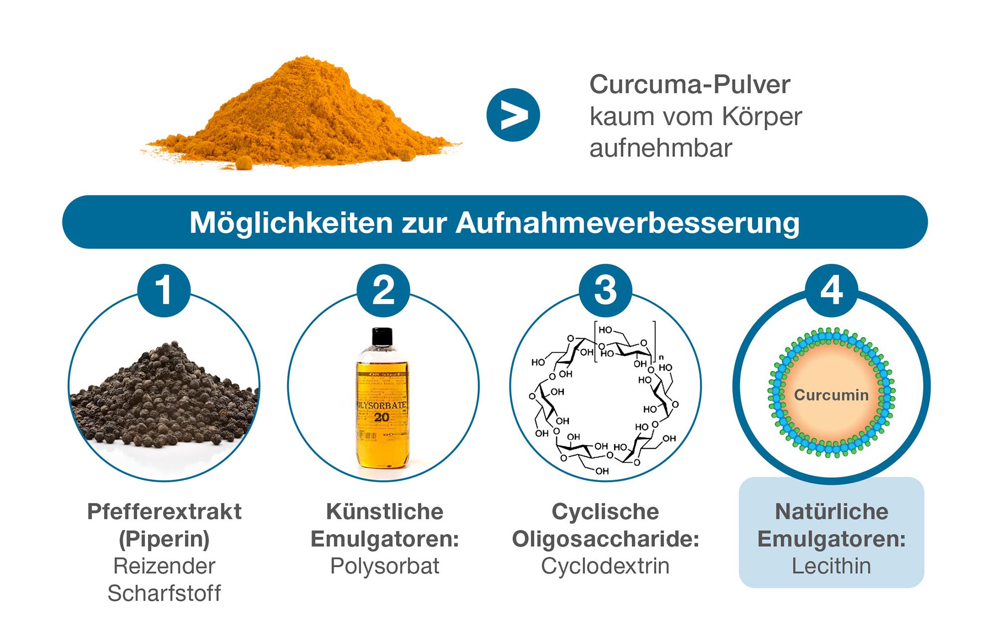 Möglichkeiten zur Aufnahmeverbesserung Curcumin