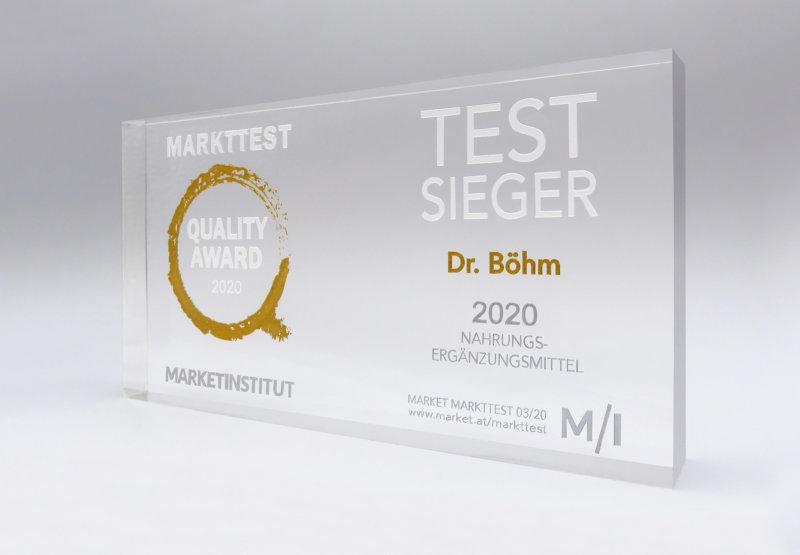 Markttest Quality Award 2020: Testsieger Dr. Böhm®