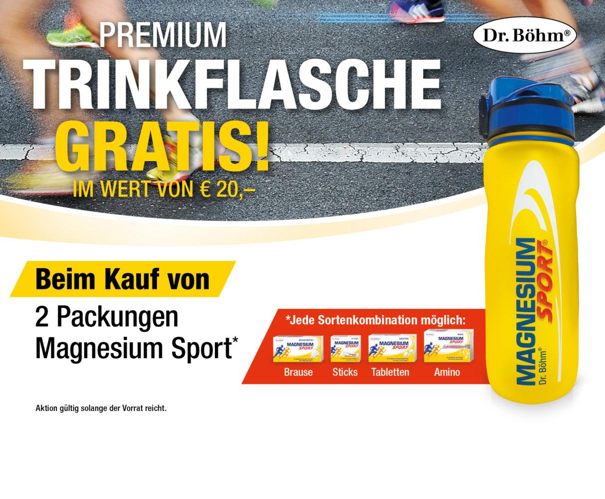 Magnesium Sport® Trinkflaschenaktion - beim Kauf von 2 Packungen Magnesium Sport® Trinkflasche im Wert von €20,- GRATIS!